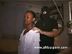 Petite African Cecile is abused BDSM style by white guys in an interracial anal gangbang