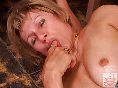 Mature mother and the Son have a good time on kitchen.