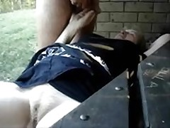 Having fun outdoor with pervert granny. Amateur Older