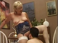 Blonde Granny in White Fishnet Stockings Fucks