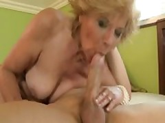 Horny granny sucks and fucks hard
