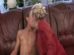 Horny tattooed granny loves to ride cock