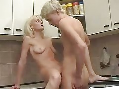 Fair-haired Russian Adult Old woman together with chum