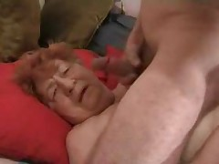 Lecherous granny cocksucking film over