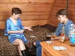 Russian mam together with house-servant carrying-on strip-poker
