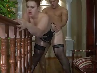 Bitch plump mommy in stockings and muscled boy