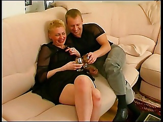 Mature blonde used her boy for sex