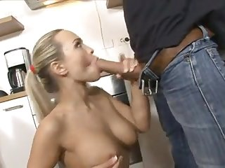 Freaky Blonde watn suck cock in the kitchen