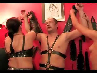 Two hot mistresses torture their slave