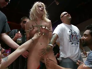 Beautiful small blond Tied-Up and Fisted in Public