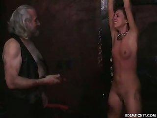 Blindfolded slave beaten