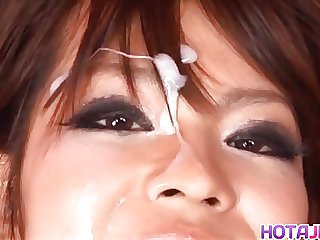 Rukia Mochizuki gets brush with cum on face