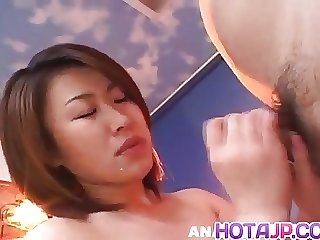 Kokoro Miyauchi Japanese milf strips and enjoys deep throati