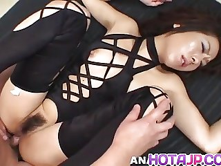 Tsubasa Okina naughty Asian milf in black sucks two fat cock