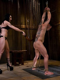 <!–-IMAGE_COUNT-–> of Mistress Simone Cross whips pathetic dick slave boy
