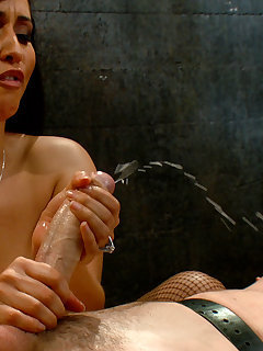 <!–-IMAGE_COUNT-–> of Mistress bounds and pinches slave's cock before fucking him