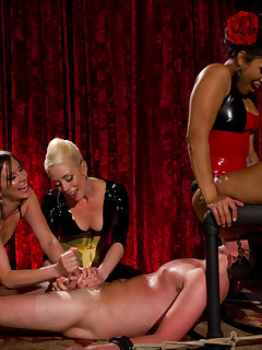 12 of Three Mistresses give their slave's cock  triple torture