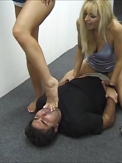 6 of Two Naughty Blondes Double Trample on a Guy