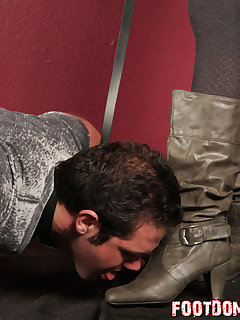 <!–-IMAGE_COUNT-–> of Mistress O makes her doggy slave crawl and kiss her boots