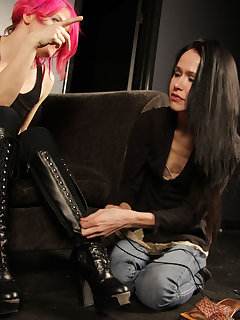 12 of Sophie trains her servant girl on lacing her boots