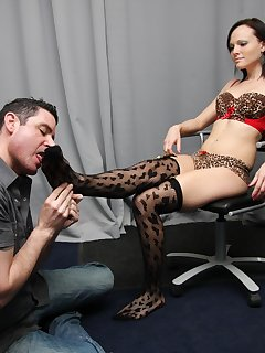 <!–-IMAGE_COUNT-–> of On his knees to worship on Maggie's stockings