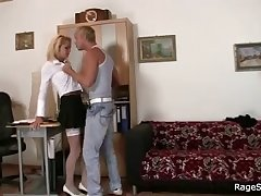 Slutty office bitch takes deepthroat fucking