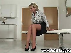 Hot Brit fetish Lady Sonia in stockings masturbates