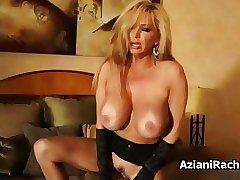 Busty blonde milf rides a dildo