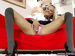 Euro teen in stockings teases old man and plays with her pussy